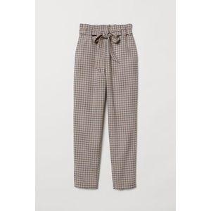 H&M Plaid Paper Bag Tie Waist Trousers